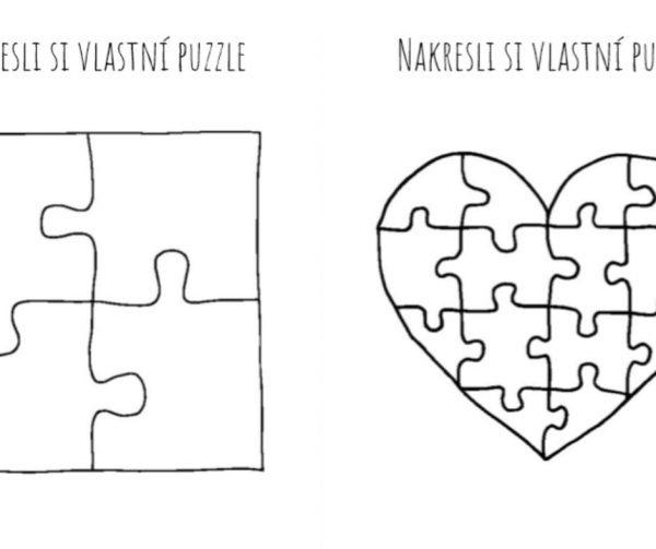 Na obrázku je ukázka předlohy na puzzle se 4 dílky a puzzle ve tvaru srdce.