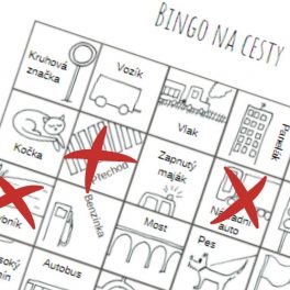 Ukázka Binga na cesty - kdo první uvidí 5 v řadě má Bingo!