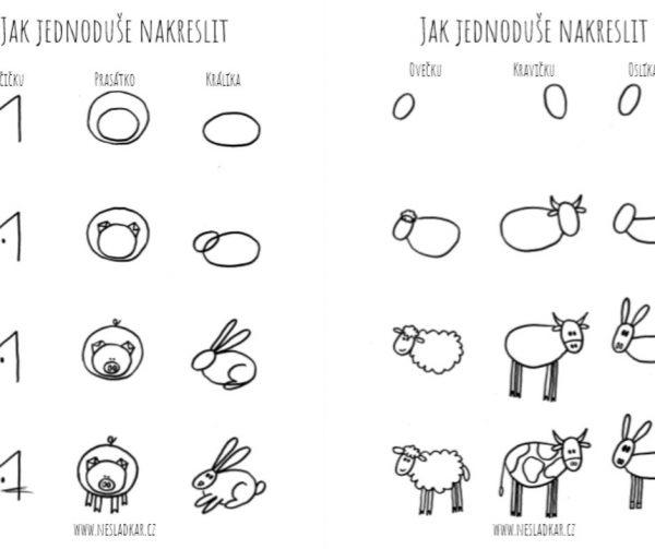 Na obrázku je ukázka návodu na nakreslení prasete, králíka, kočky, ovce, krávy a osla.