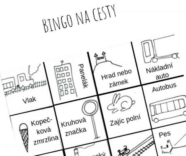 Ukázka hry bingo na cesty 4x4 s nakresleným vlakem, panelákem, hradem, zajícem a dalšími