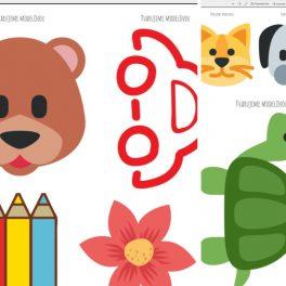 Ukázka obrázků ze souboru tvarujeme modelínou. Vidíme tam medvěda, pastelky, auto, kytičku a želvu.