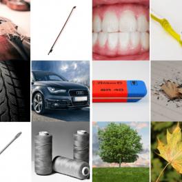 Hledání dvojic jako zuby a zubní kartáček nebo tužka a guma