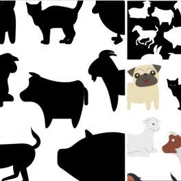Stíny farma - přiřazujte obrázky zvířat z farmy k jejich obrysům