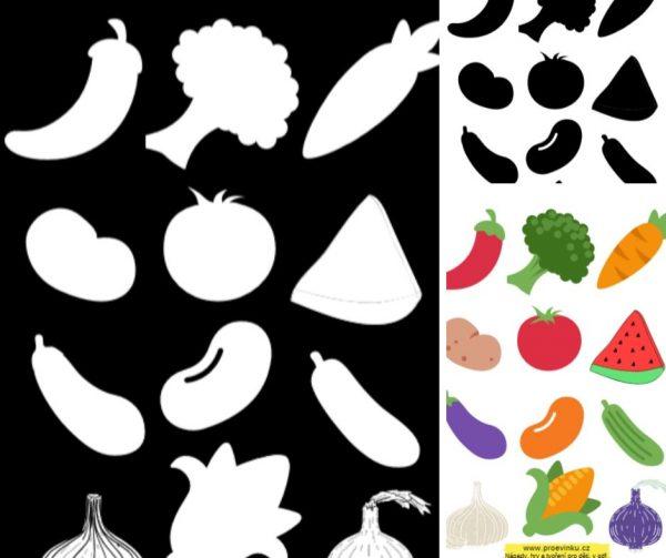 Ukázka ze stínové přiřazovačky stíny zelenina.