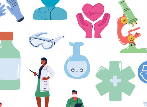 Ukázka obrázků ze zdravotnictí, léčba koronaviru - doktoři, baňky, mikroskop, ochranné brýle