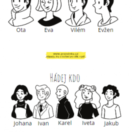 Ukázka hry Hádej kdo, černobílé obrázky s křestními jmény