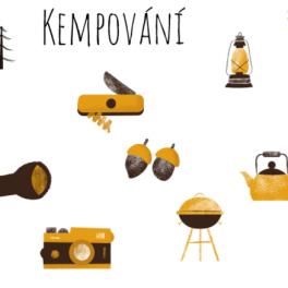 Obrázky kempování - baterka, táborák, konvice, boty, foťák, žalud, stan a další