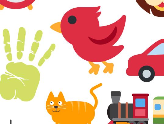 Ukázka obrázků říkej co to je - vidíme ruku, auto, mašinku nebo ptáčka