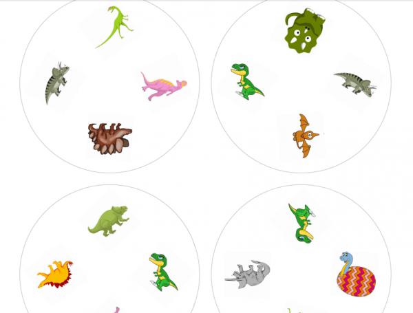 Dobble dinosauři - ukázka 4 dinosaurů na kartičce