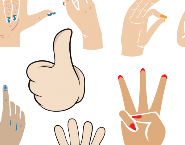 Gesta rukou - na obrázku je vidět zdvižený palec a další.