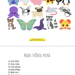 Najdi zvířata podle zadaných parametrů. Na obrázku vidíte motýla, lachtana, psa, myš, křečka, chameleona a další.