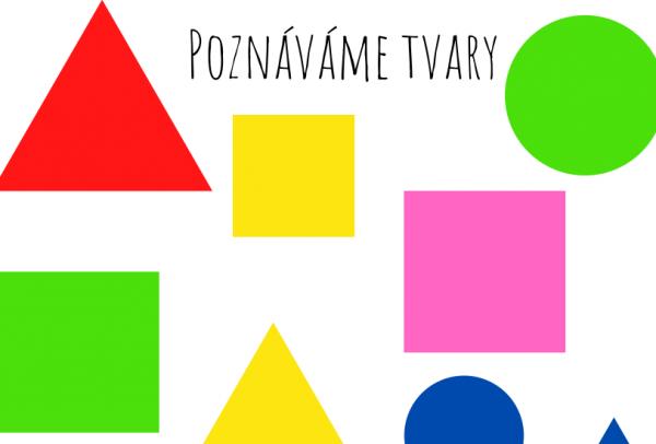 Poznáváme tvary - na obrázku jsou kruhy, čtverce a trojúhelníky v základních barvách