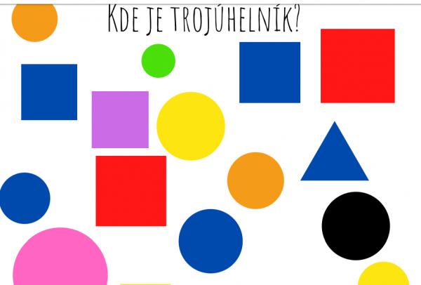 Poznáváme tvary - kruh, čtverec a trojúhelník - pracovní list, na kterém se hledá trojúhelník
