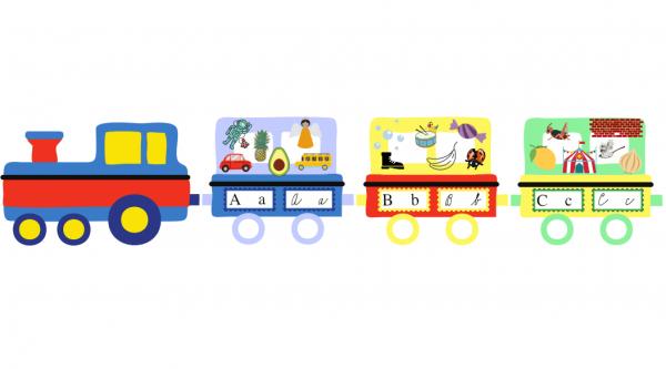 Abeceda vlak - mašinka a dva vagonky - A a B