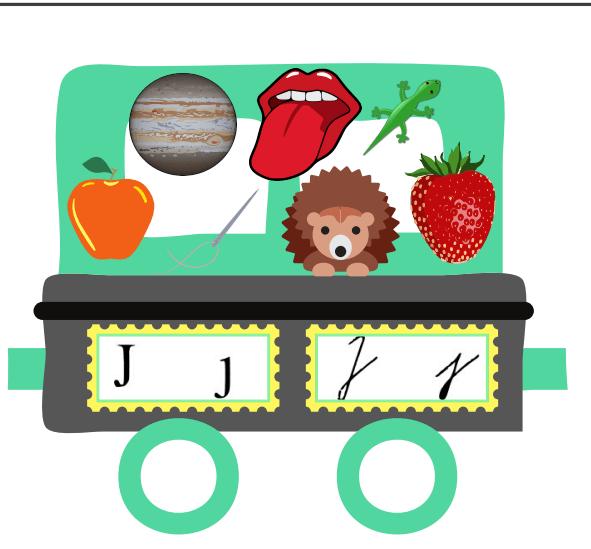 Abeceda vlak - vagon s písmenem J - jablko, ježek, jehla, jahoda, ještěrka, jazyk, jupiter