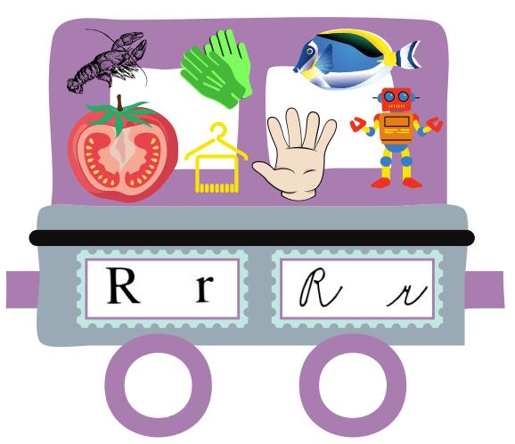 Abeceda vlak - vagon s písmenem R - rajče, rak, rukavice, ramínko, ruka, ryba