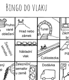 Zábavná hra bingo do vlaku - na obrázku vidíme nakreslený tunel, hrad, nákladní vlak, cyklostezku, železniční semafor a další