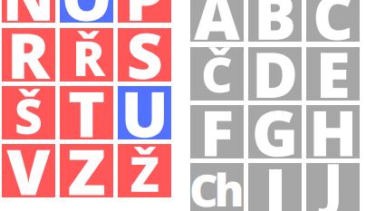 česká abeceda, přiřazování slov - písmena