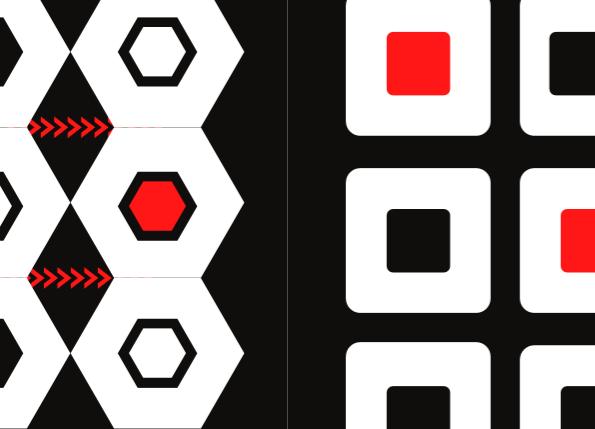 černobílé obrázky s červenými prvky pro podporu správného vývoje zraku miminek