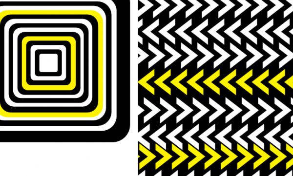 černobílé obrázky se žlutými prvky pro podporu správného vývoje zraku miminek