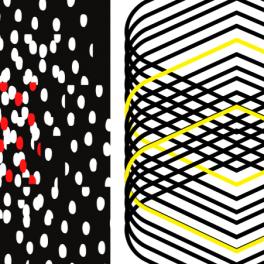 černobílé obrázky se žlutými a červenými prvky pro podporu správného vývoje zraku miminek