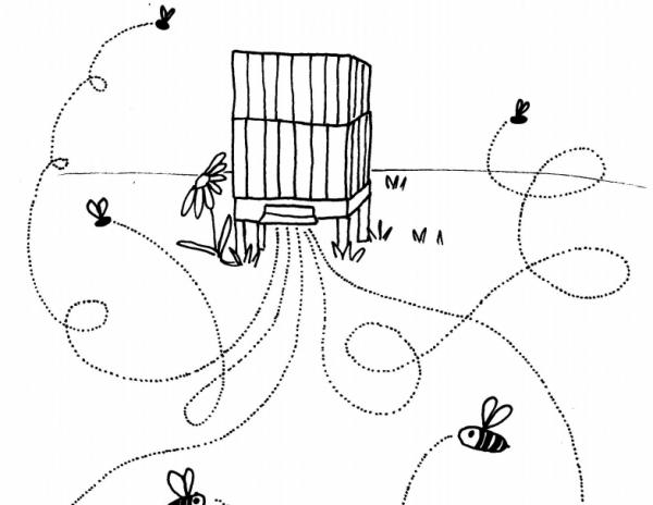 grafomotorický list - jak létají včely
