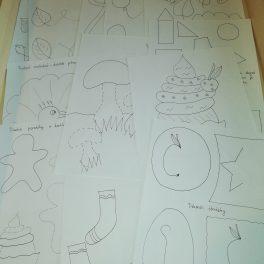 Pracovní, listy, menší, děti, grafomotorika, barvy, omalovánky, dokreslování, přiřazování, bludiště, prstové, malování, tvoření, dvojic, větší, menší,