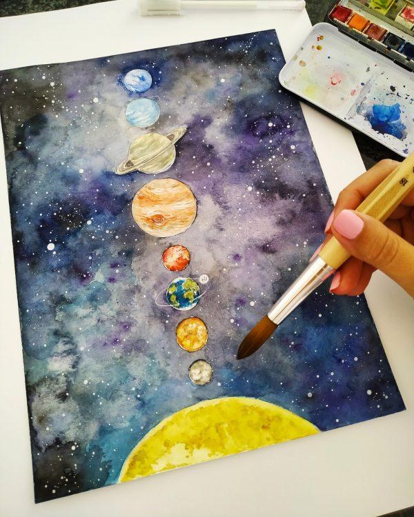 vesmír, obrázek, sluneční, soustava, štětec, malovat