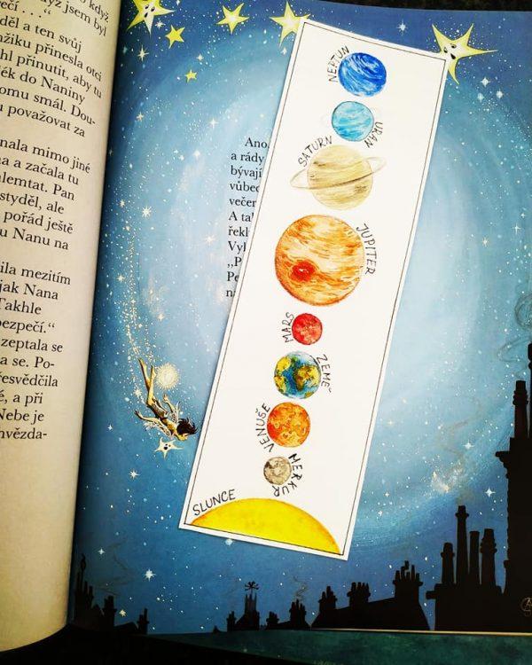 vesmír, obrázek, sluneční, soustava, malovat, záložka, kniha