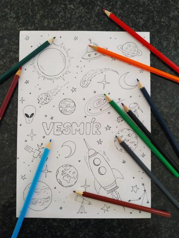 vesmír, obrázek, cesta, sluneční, soustava, malovat, omalovanka