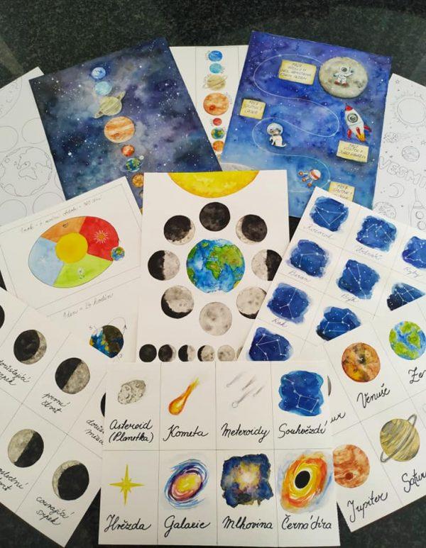 vesmír, obrázek,, sluneční, soustava, malovat, měsíc, planeta, souhvězdí, objekty, rok, den, cesty