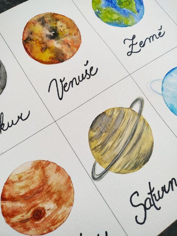 vesmír, obrázek, cesta, sluneční, soustava, malovat, planety