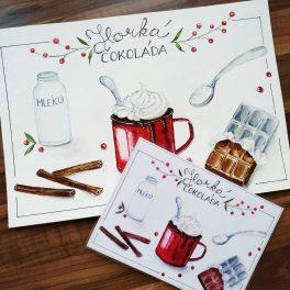 Vánoce, vánoční, malované, recepty, horká, čokoláda, vůně, pečení, atmosféra