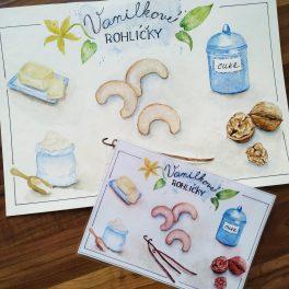 Vánoce, vánoční, malované, recepty, vanilkové, rohlíčky, vůně, pečení