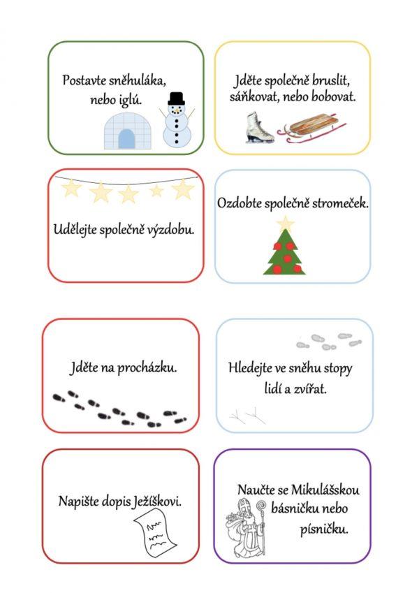 zimní, zima, adventní, advent, kartička, karta, tipy, aktivity