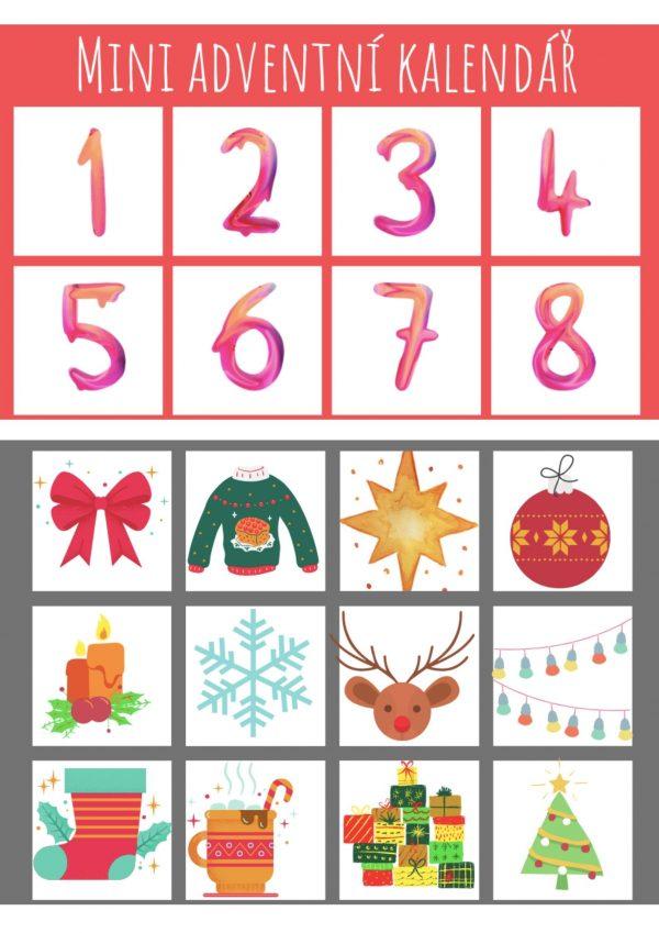 mini, adventní, kalendář, Vánoce, vánoční, ozdoby