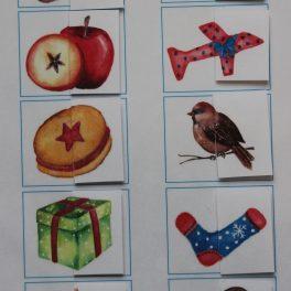 druhá, polovina, půlka, obrázku, obrázek, saně, ovoce, ptáček, hvězda, dárek