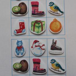 orientace, tabulka, Vánoce, vánoční, motivy, ptáček, ovoce, dárek
