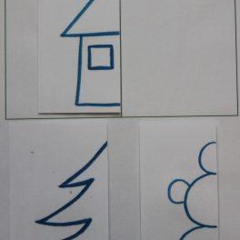 osová, souměrnost, domeček, strom, sněhulák