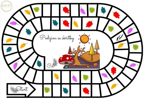 Podzim, skřítky, skřítek, hra, barvy, figurky, kostka