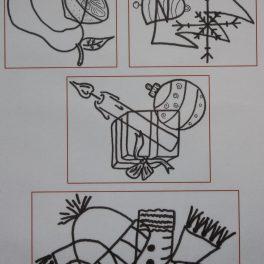 zrakové, vnímání, vnímat, předmět, předměty, propletený, obrázky, černobílé, Vánoce, vánoční