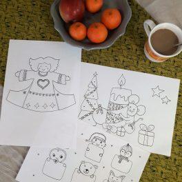 Vánoční, pdf, omalovánky, Vánoce, vánoční, svátky, atmosféra, motivy, šála, rukavice, čepice, betlém, stromek, svíčka, anděl, dárek, sněhulák