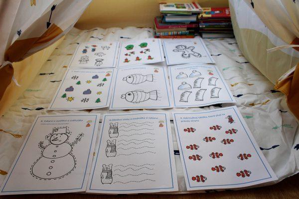 Pracovní, listy, Amálka, grafomotorika, obtahování, počítání, omalovánky, děti, vybarvit, černobílé, barevné