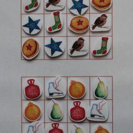 sudoku, Vánoce, vánoční, motivy, atmosféra, cukroví, ptáček, ponožka, brusle, ozdoba, stromeček, ovoce