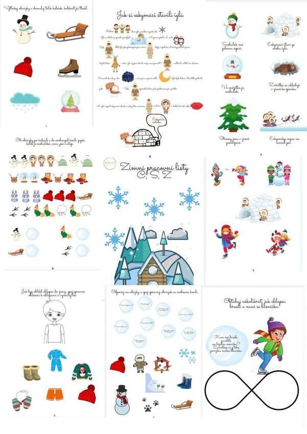 Zimní, pracovní, listy, procvičení, hlásek, C, S, Z, procvičovat