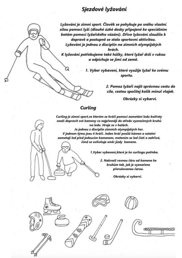 zimní, zima, sport, sporty, bruslení, curling, bobování, lyžování, biatlon, pohyb, pohybování se, vybavení