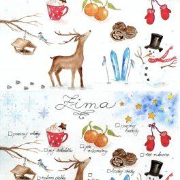 Malované, zimní, aktivity, zima