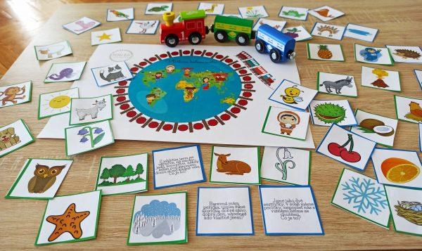 Hra, vláčkem, vláček, kolem, světa, hry, hrát