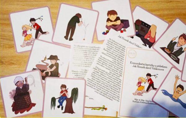 komunikační, kartičky, s, příběhem, Velikonoce, pdf, velikonoční, kartička