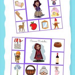 Pohádkové, karty, karta, přiřazování, obrázků, obrázek, pdf